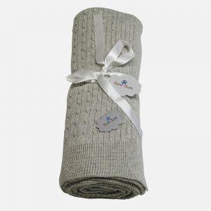 Babyfilt Björnen Gråmelange – Cotton Cashmere